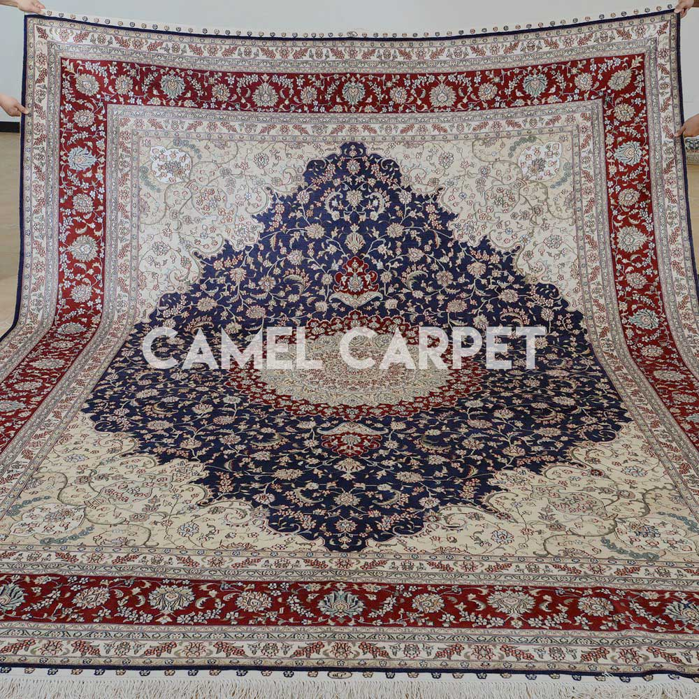 Hand Knotted Silk Thin Rugs for Living Room