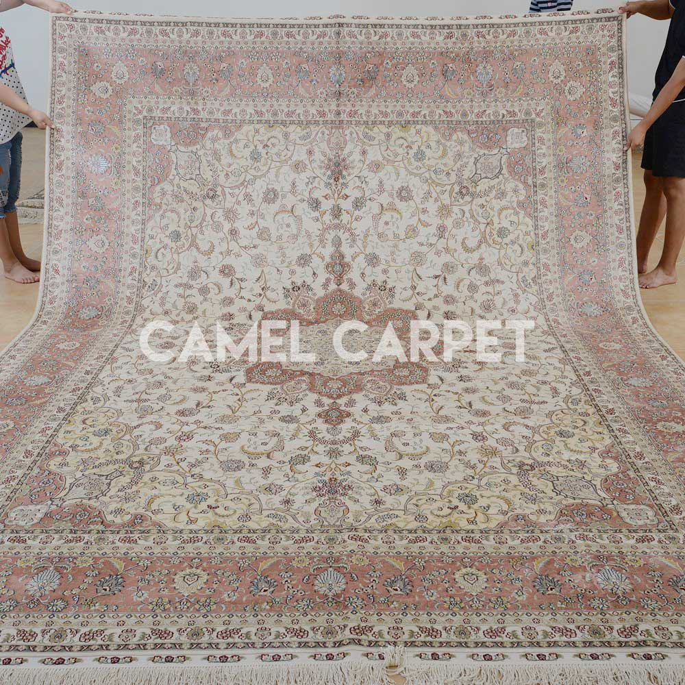 Traditional Hand Knotted Silk Pink Persian Rug