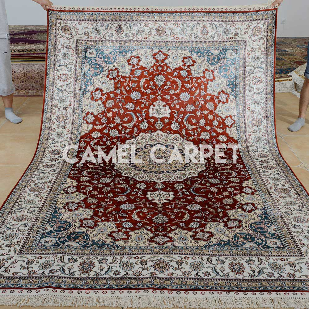 Handmade Pure Silk Red Living Room Rugs